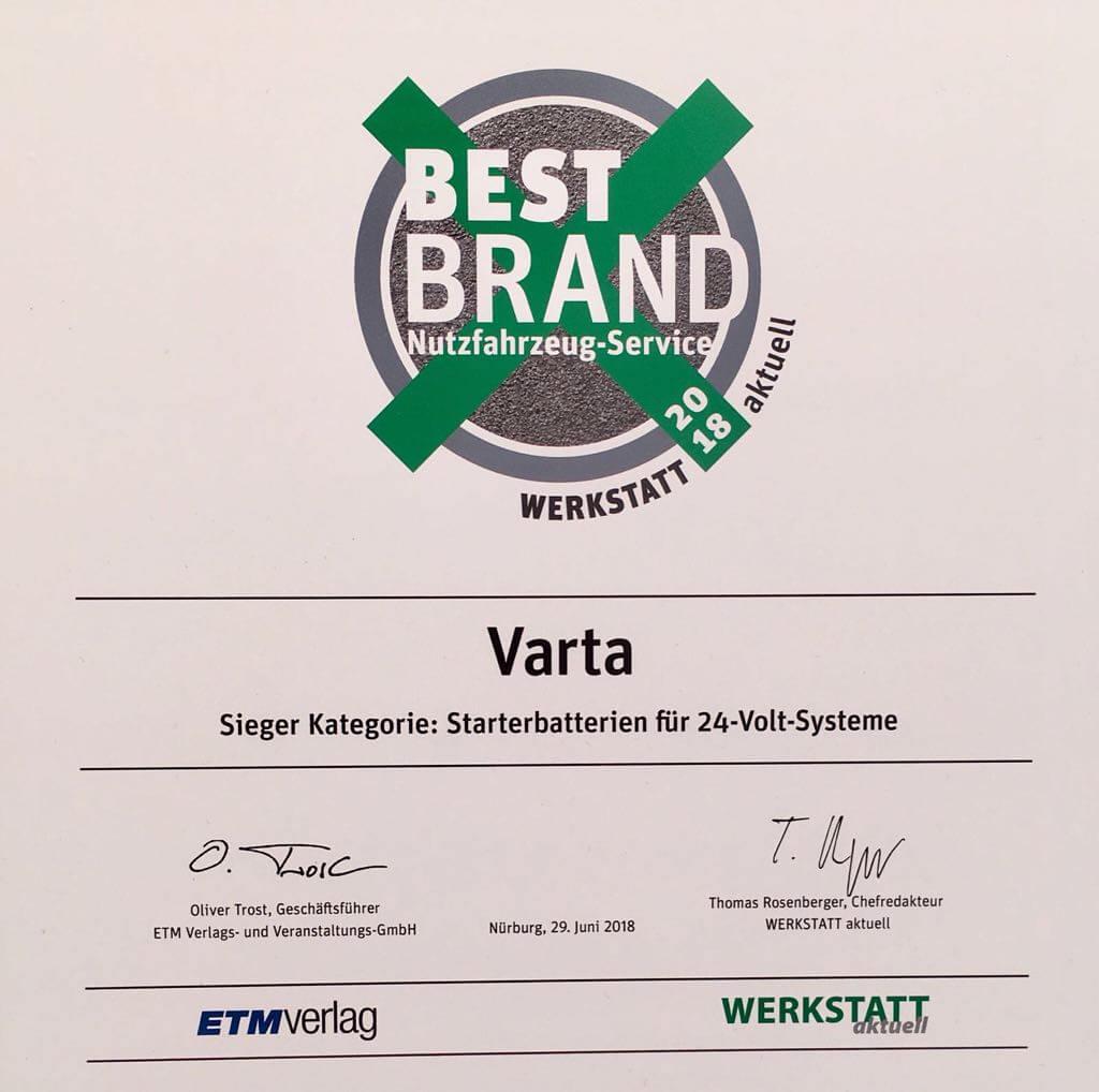 Best Brand Award VARTA 2018